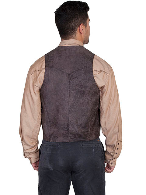 Mens Scully Leather Vest Whip Stitch Lapels Brown Buff Back View