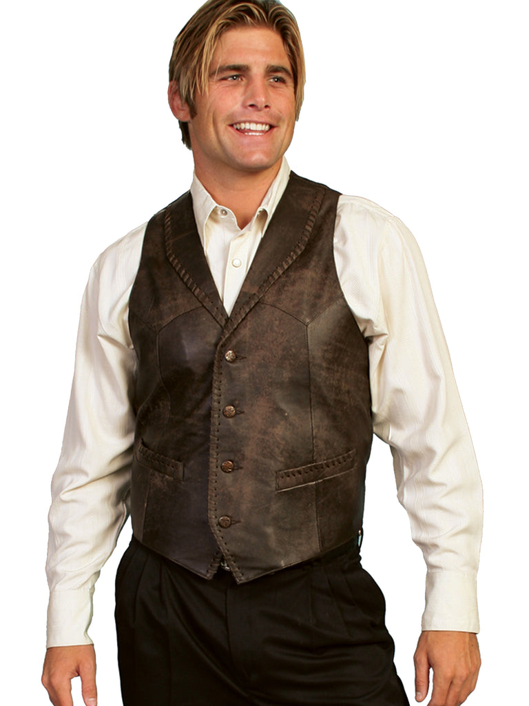 Mens Scully Leather Vest Whip Stitch Lapels Brown Buff Front View