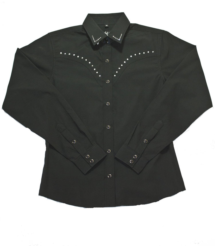 White Horse Apparel Women's Western Shirt with Rhinestones Black