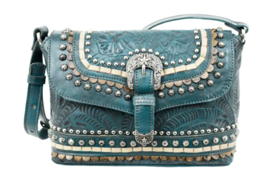 Crossbody Flap Bag with Decorative Buckle and Studs Dark Turquoise Front View
