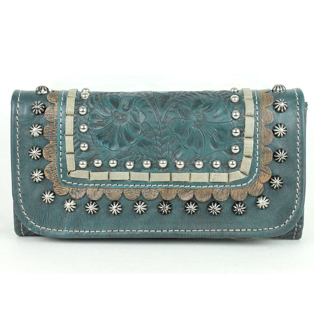 American West Handbag, Blue Ridge Collection, Tri-Fold Wallet Dark Turquoise Front