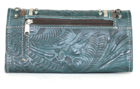 American West Handbag, Blue Ridge Collection, Tri-Fold Wallet Dark Turquoise Back View