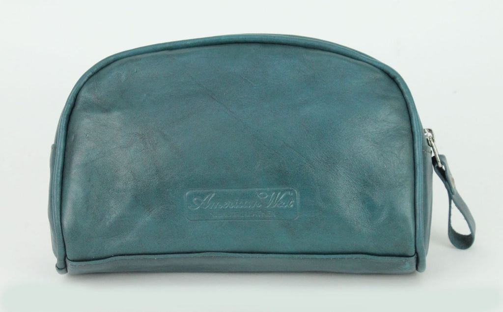 American West Blue Ridge Collection Leather Cosmetic Case Dark Turquoise Back