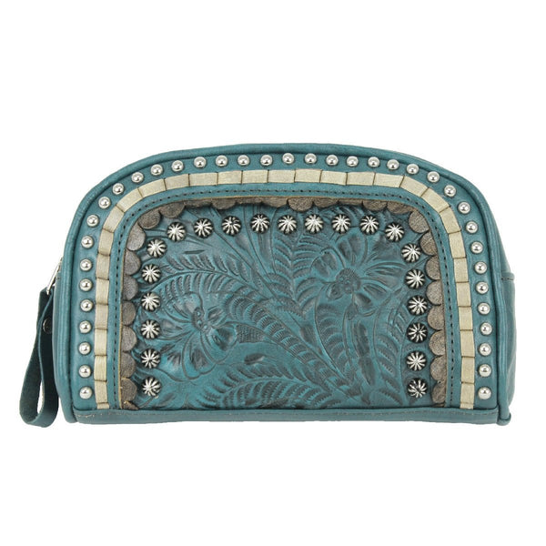 American West Blue Ridge Collection Leather Cosmetic Case Dark Turquoise Front
