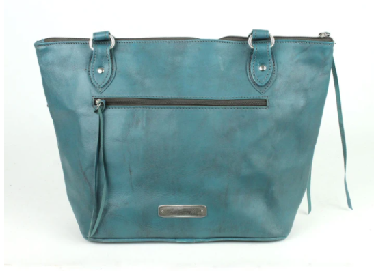 American West Handbag, Blue Ridge Collection, Zip Top Tote Bag Turquoise Back View