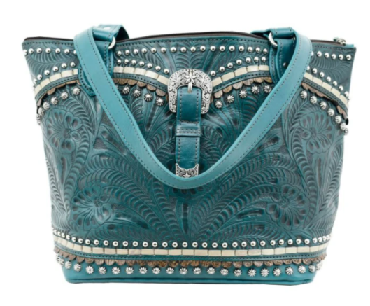 American West Handbag, Blue Ridge Collection, Zip Top Tote Bag Turquoise Front View