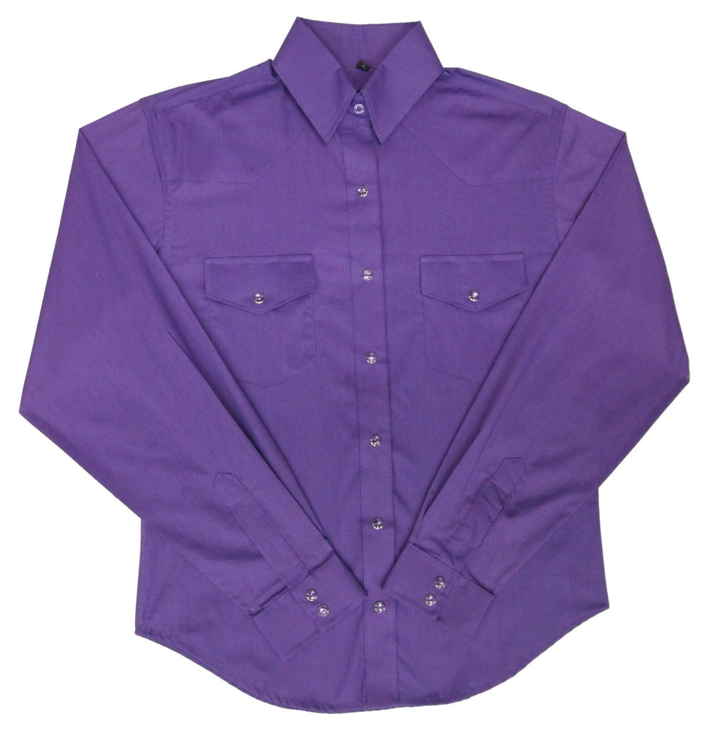 White Horse Apparel Women's Western Shirt Broadcloth Purple