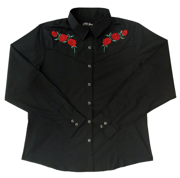White Horse Apparel Women's Western Shirt White with Red Roses