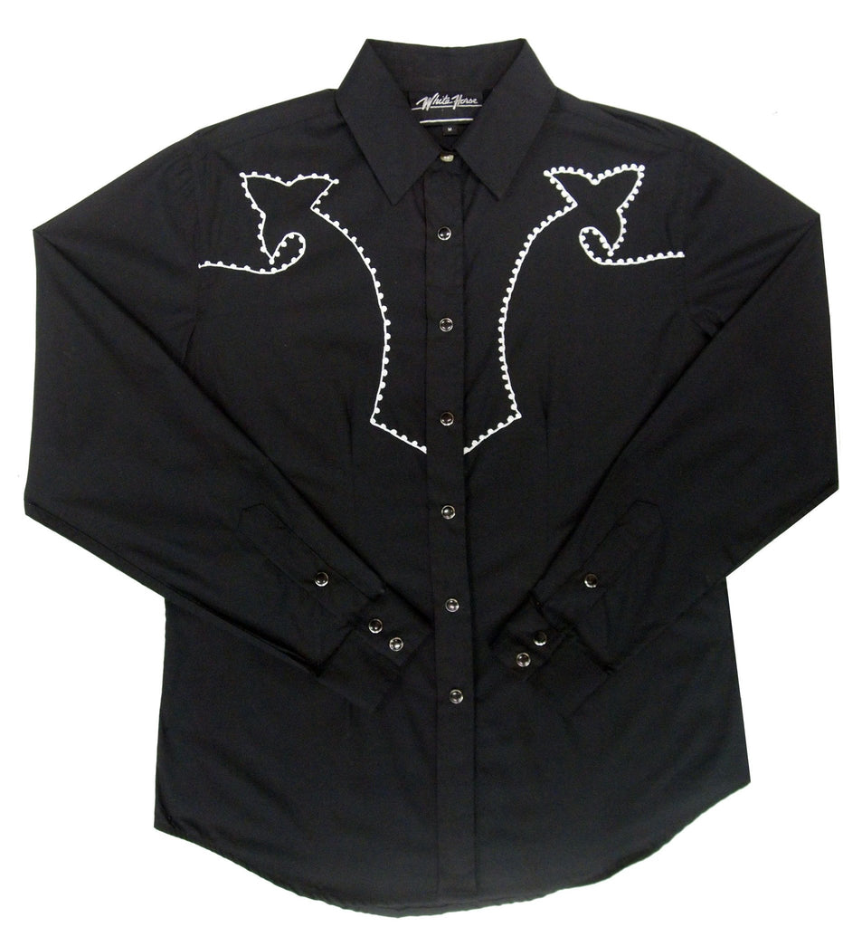 White Horse Apparel Women's Western Shirt White Chain Stitch on Black