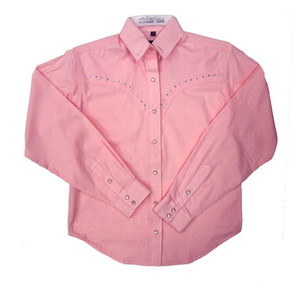 White Horse Apparel Women's Western Shirt with Rhinestones Pink
