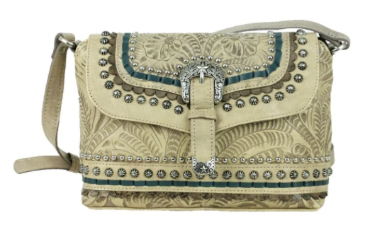 Crossbody Flap Bag with Decorative Buckle and Studs Sand