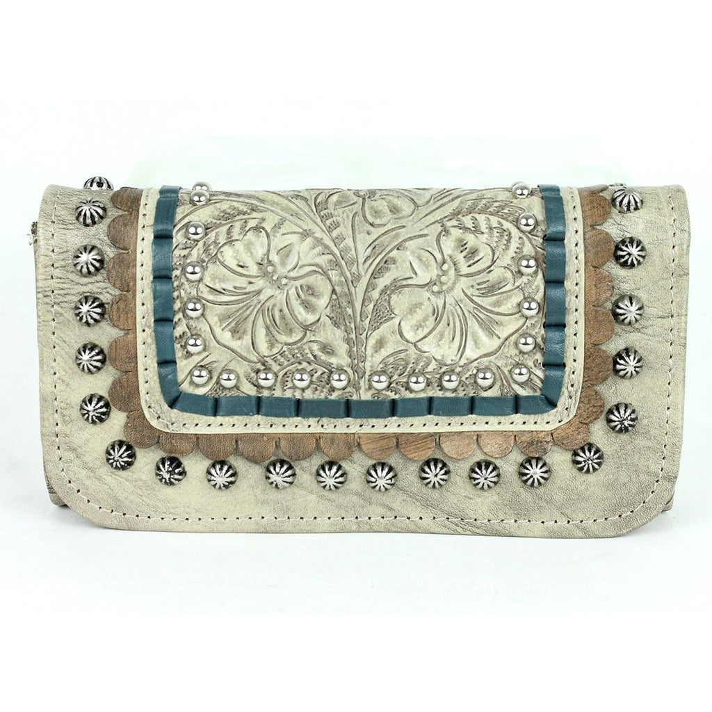 American West Handbag, Blue Ridge Collection, Tri-Fold Wallet Sand Front