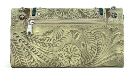 American West Handbag, Blue Ridge Collection, Tri-Fold Wallet Sand Back View