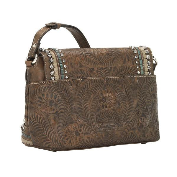 American West Handbag, Blue Ridge Collection, Crossbody Flap Bag with Decorative Buckle and Studs Distressed Charcoal Back View