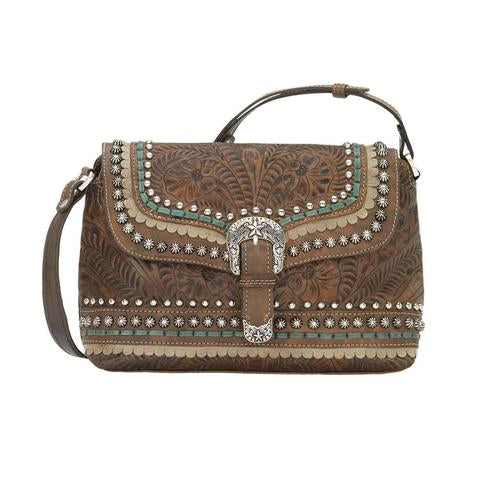 American West Handbag, Blue Ridge Collection, Crossbody Flap Bag with Decorative Buckle and Studs Brown Front View