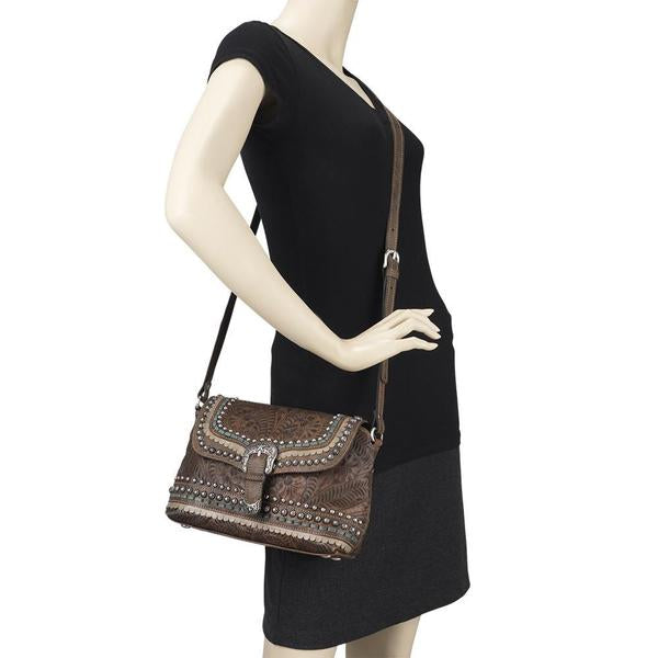 American West Handbag, Blue Ridge Collection, Crossbody Flap Bag with Decorative Buckle and Studs on Mannequin
