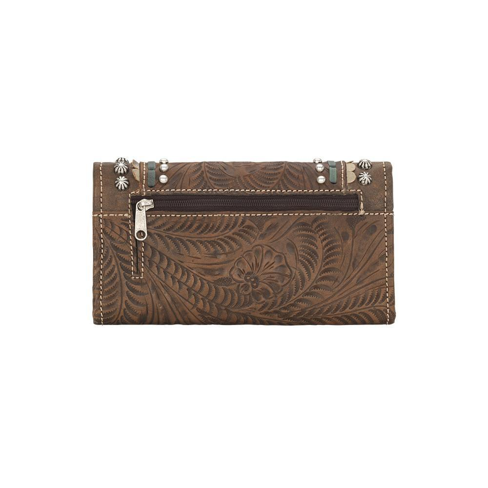 American West Handbag, Blue Ridge Collection, Tri-Fold Wallet Charcoal Brown Back View