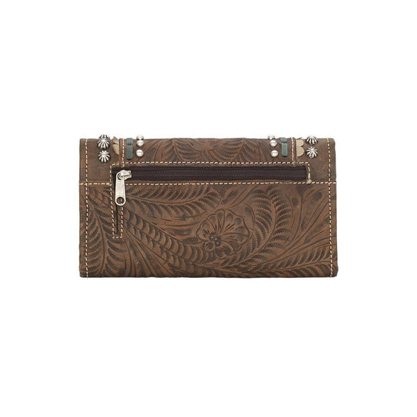 American West Handbag, Blue Ridge Collection, Tri-Fold Wallet Front View