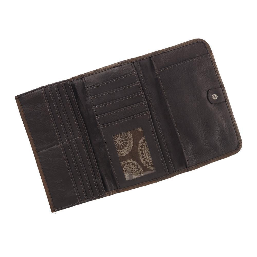 American West Handbag, Blue Ridge Collection, Tri-Fold Wallet Interior View