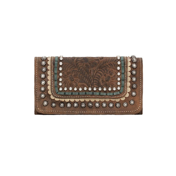 American West Handbag, Blue Ridge Collection, Tri-Fold Wallet Distressed Brown Front