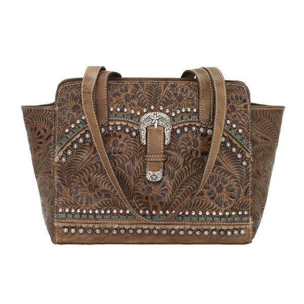 American West Blue Ridge Collection Concealed Carry Zip Top Tote Distressed Charcoal Front