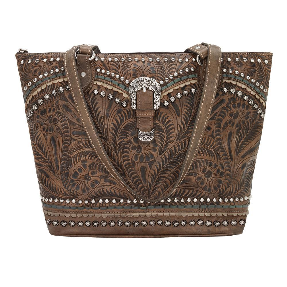 American West Handbag, Blue Ridge Collection, Zip Top Tote Bag Charcoal Brown Front