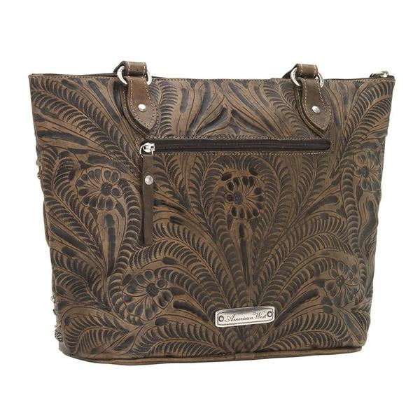 American West Handbag, Blue Ridge Collection, Zip Top Tote Bag Back  View