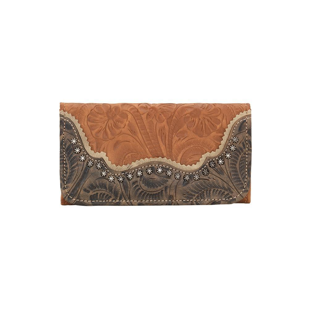 American West Handbag Saddle Ridge Collection: Tri-Fold Wallet Golden Tan Front