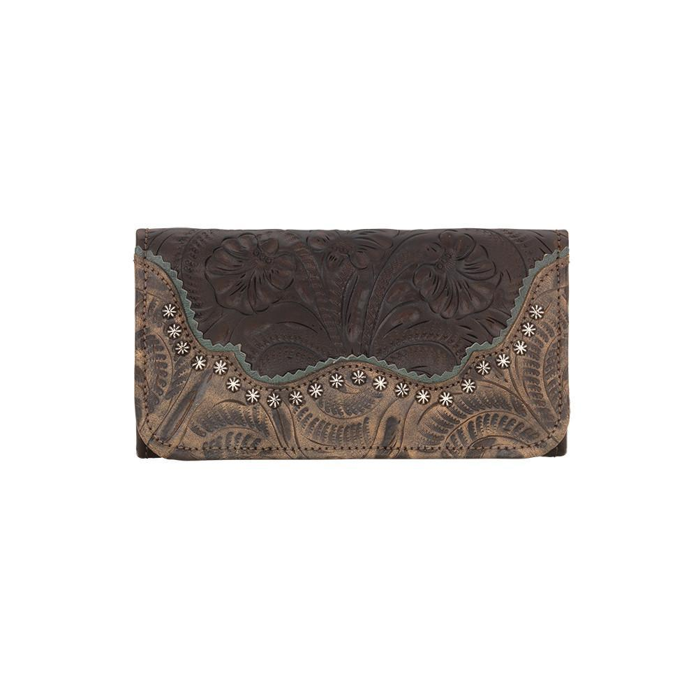 American West Handbag Saddle Ridge Collection: Tri-Fold Wallet Chocolate Front