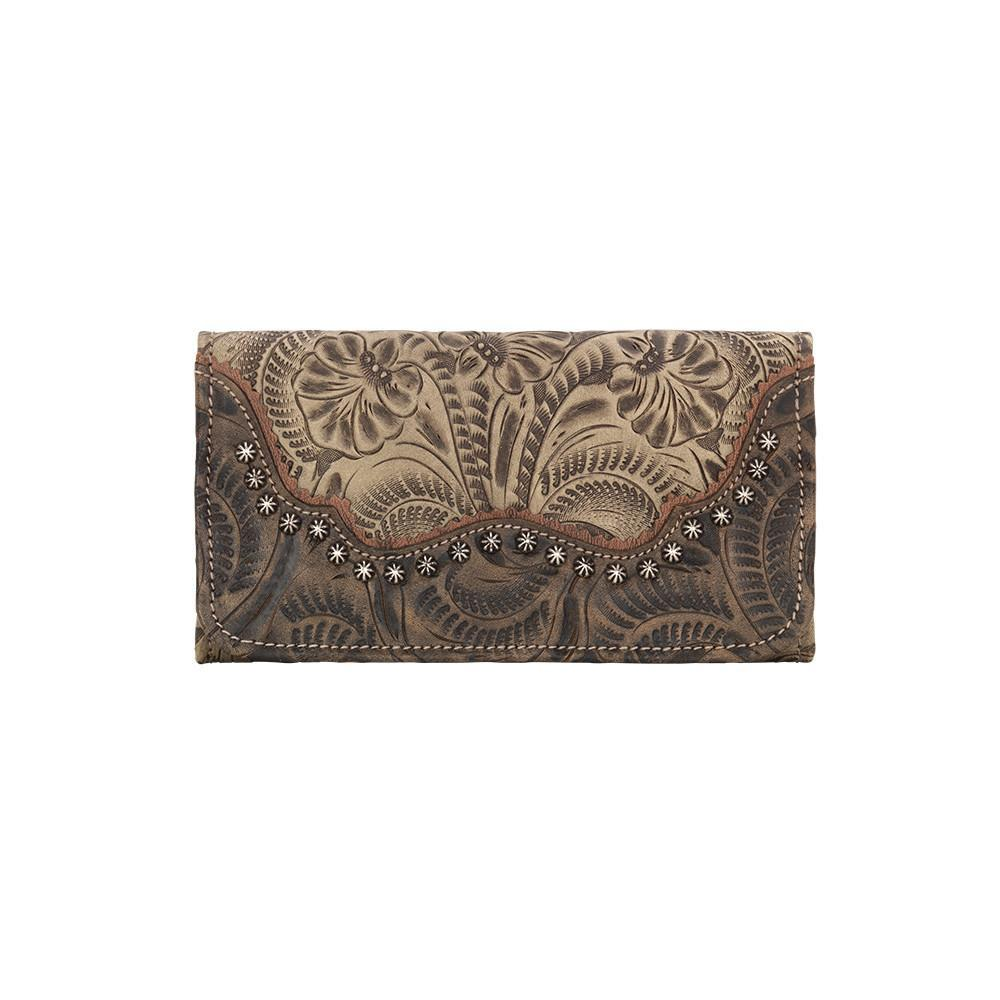 American West Handbag Saddle Ridge Collection: Tri-Fold Wallet Sand Front