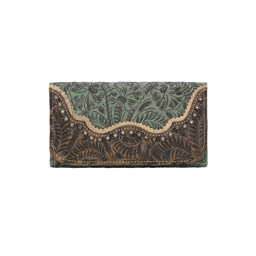 American West Handbag Saddle Ridge Collection: Tri-Fold Wallet Turquoise Front