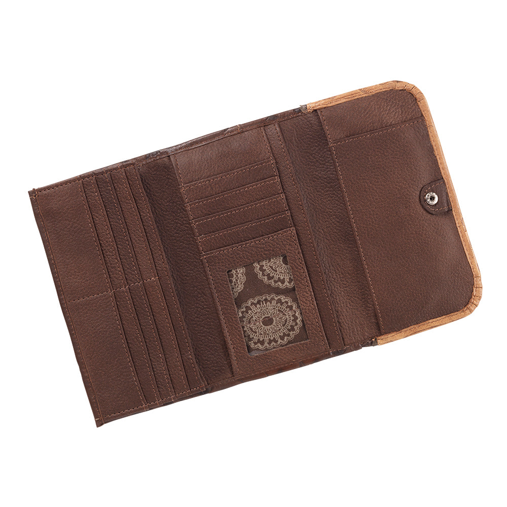 American West Handbag Saddle Ridge Collection: Tri-Fold Wallet Chestnut Brown Interior