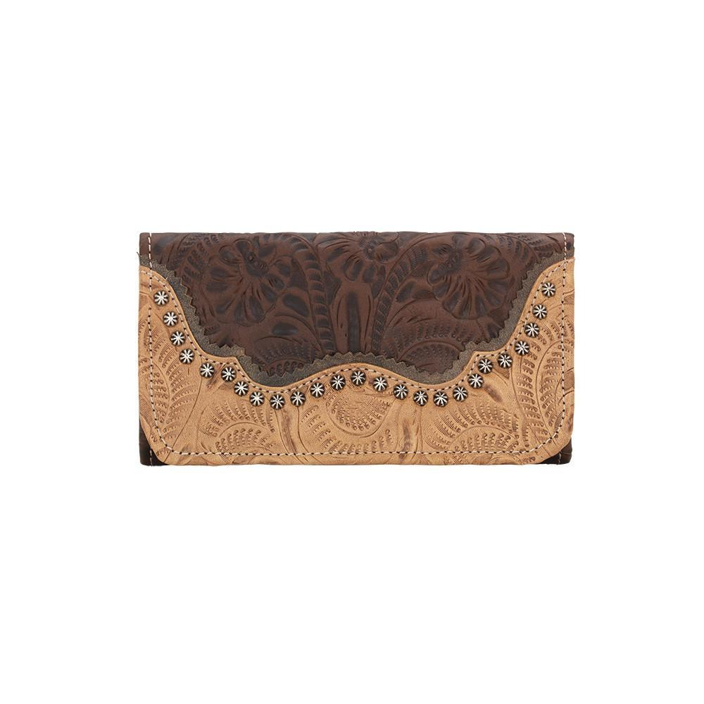 American West Handbag Saddle Ridge Collection: Tri-Fold Wallet Chestnut Brown Front
