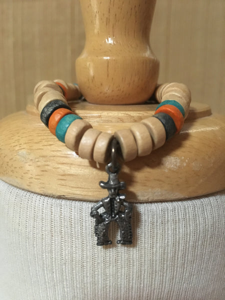 Bracelet Natural Wooden Beads with Cowboy Charm