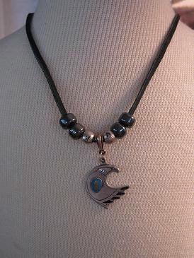 Necklace Eagle with Beads Black