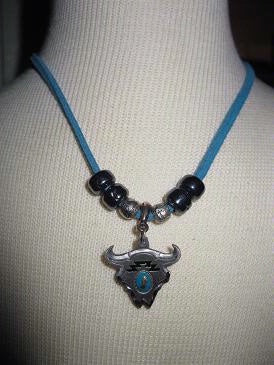 Necklace Steer Skull with Beads, Enamel Center