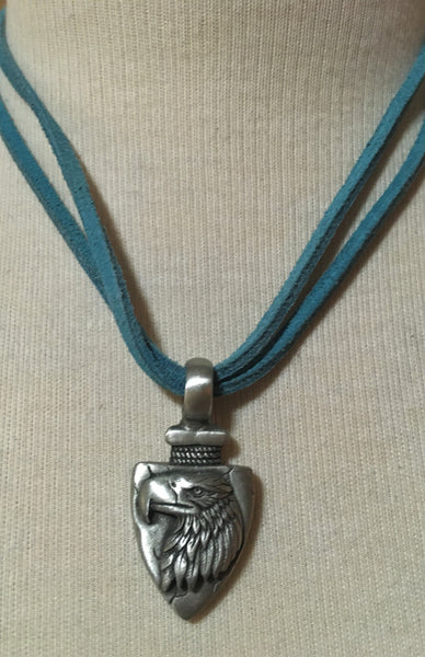 Double Leather Thong Necklace with Eagle
