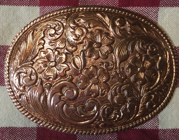 Trophy Oval Buckle Copper Tone Florals