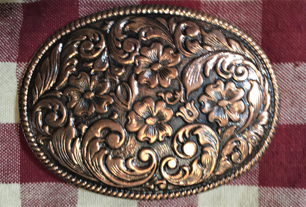 Trophy Buckle Oval with Dark Background and  Copper Tone Flowers