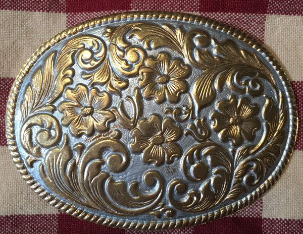Oval Trophy Buckle Pewter with Gold Tone Flowers