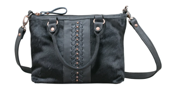 American West Handbag Hair on Hide Satchel Black Front