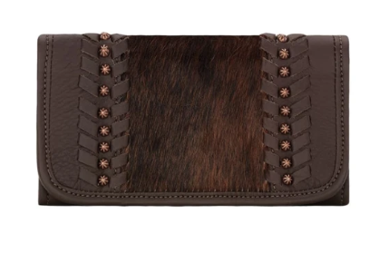 American West Handbag Cow Town Collection: Leather Tri-Fold Western Wallet