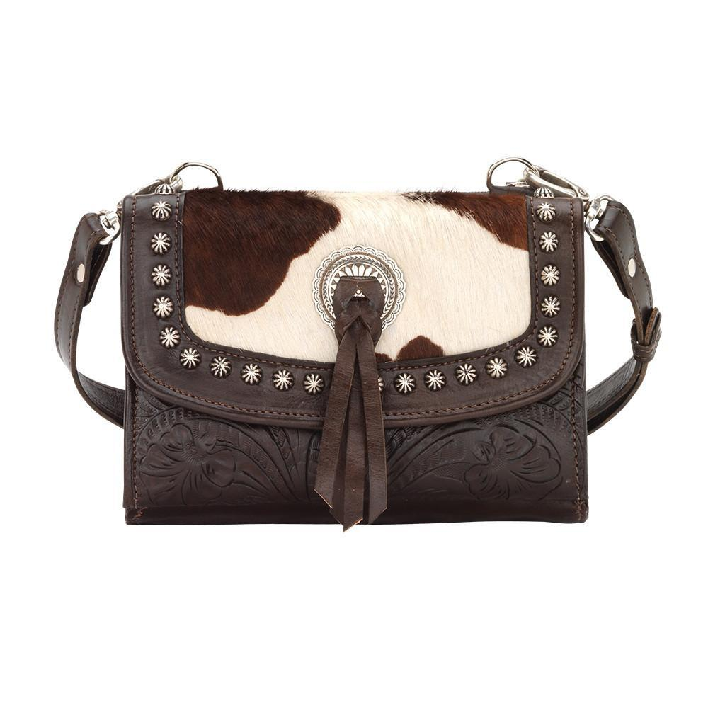 America West Handbag Texas Two Step Collection: Crossbody Walnut Leather with Pony Print Front