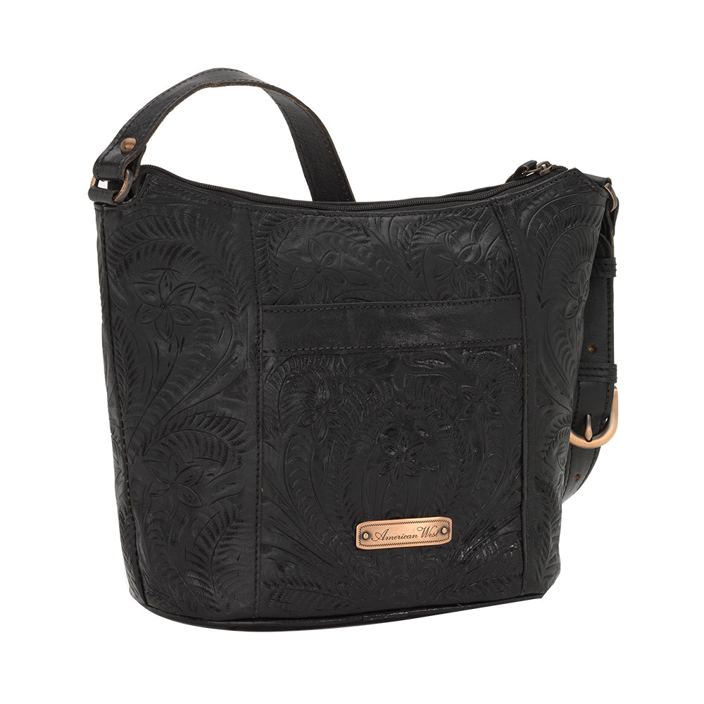 American West Handbag Hill Country Collection Black Tote Back