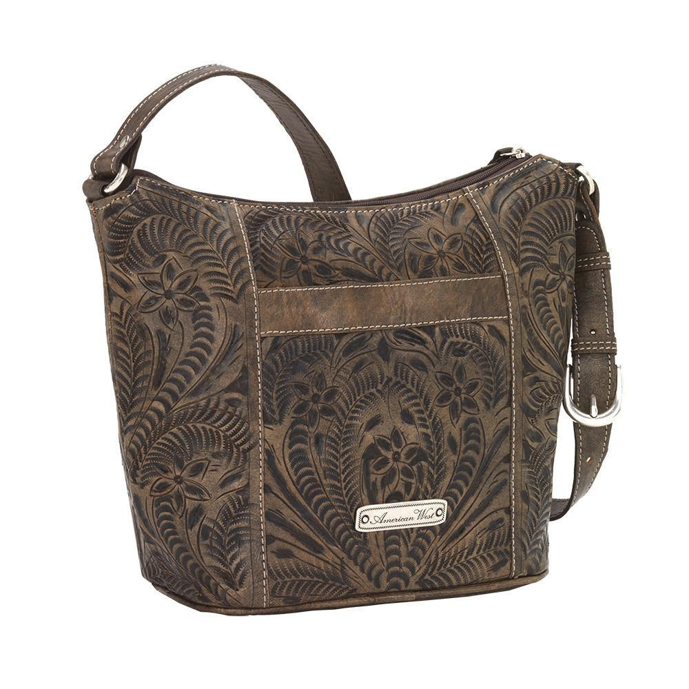 American West Handbag Hill Country Collection Distressed Charcoal Tote Back