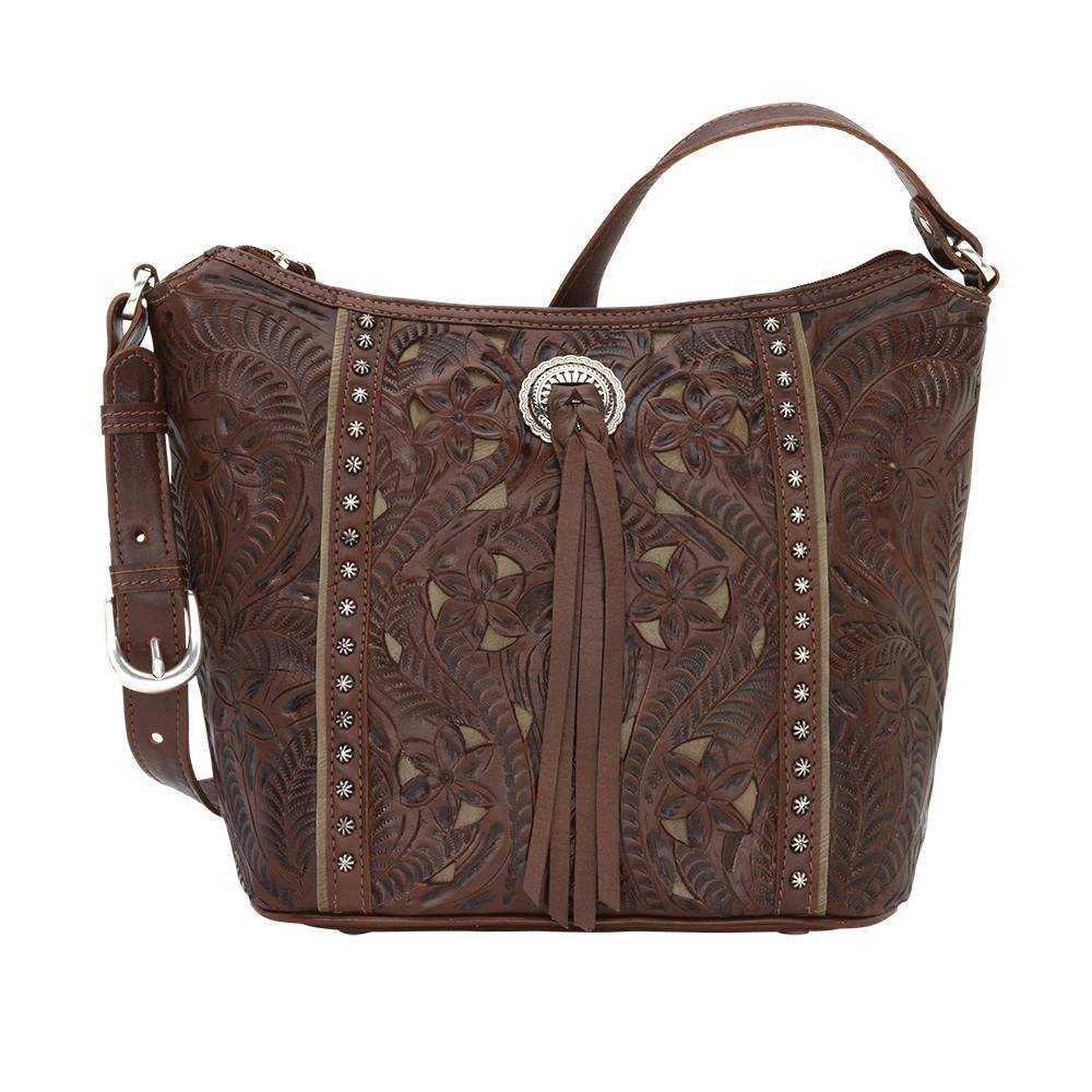 American West Handbag Hill Country Collection Chestnut Brown Tote Front