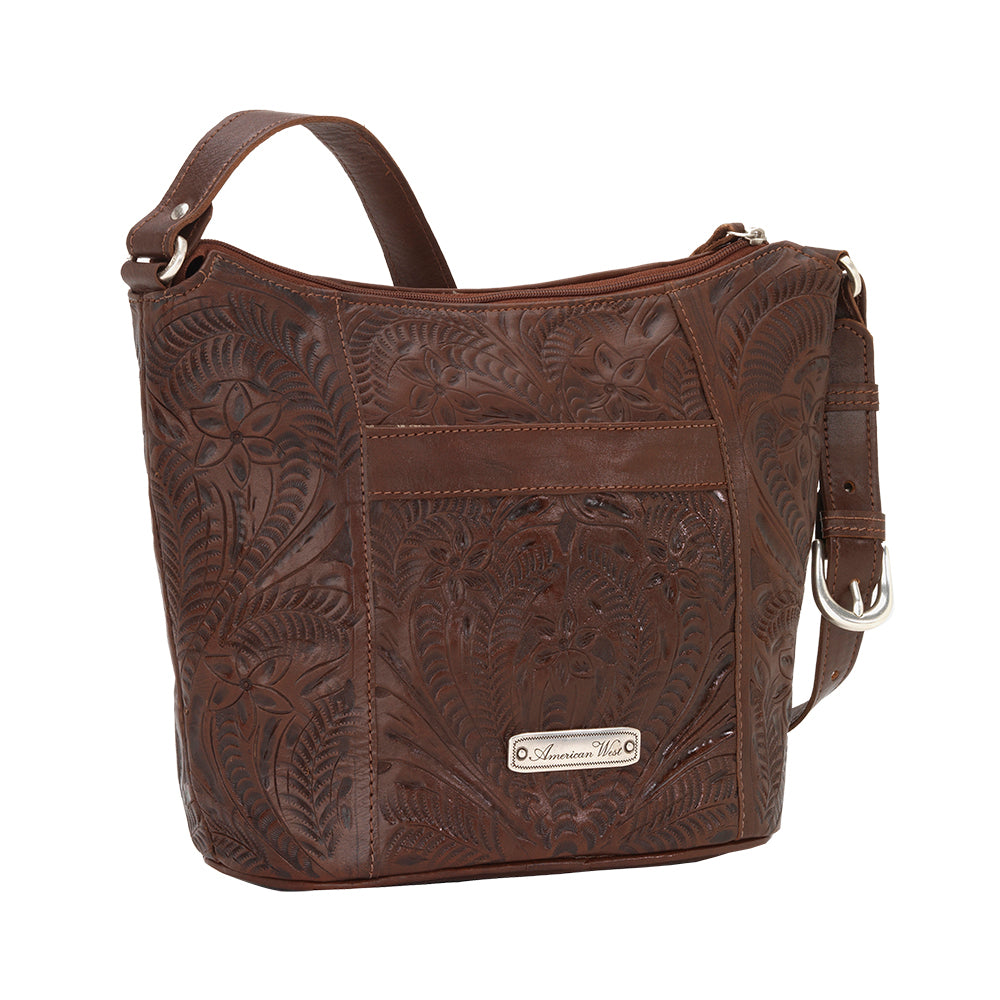 American West Handbag Hill Country Collection Chestnut Brown Tote Back