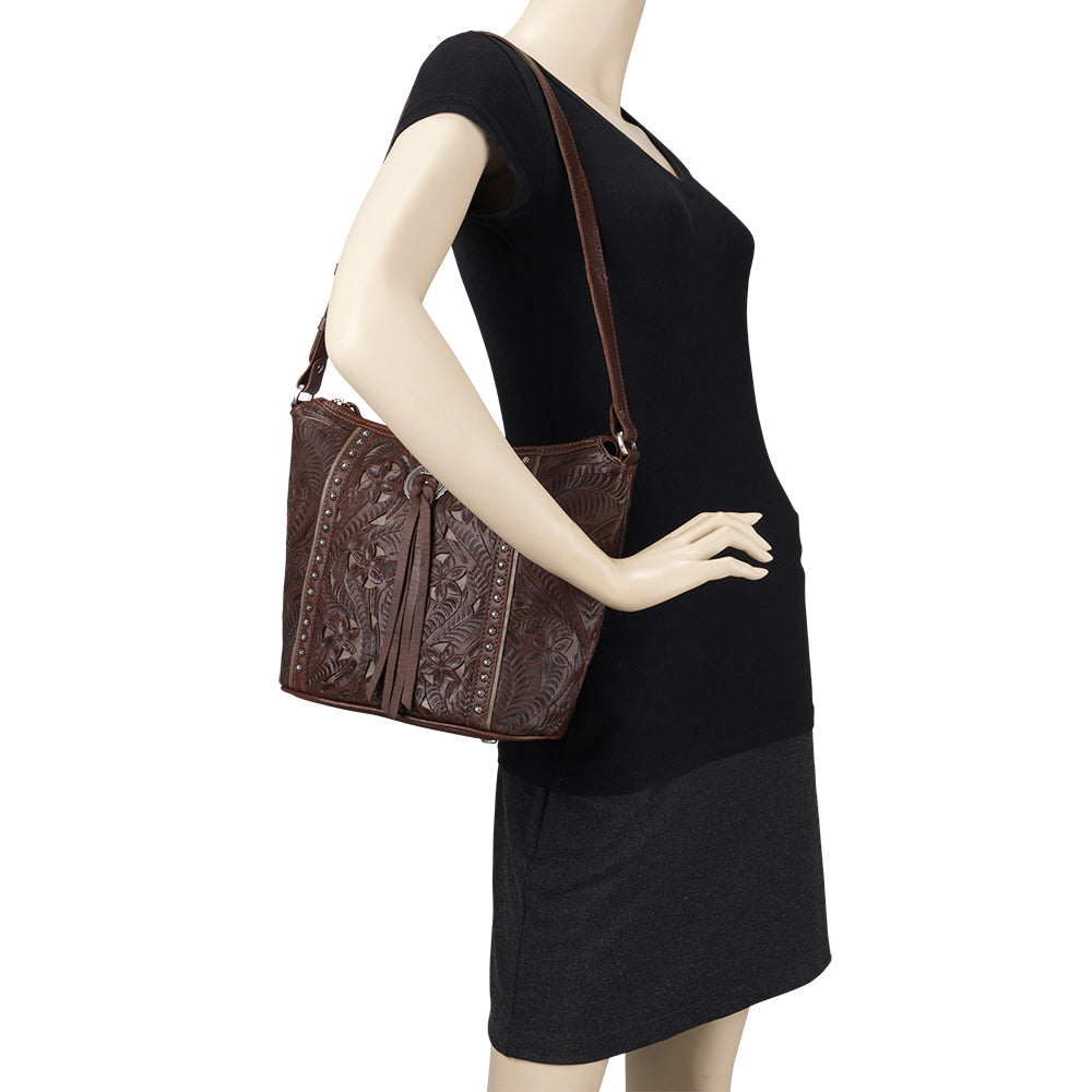American West Handbag Hill Country Collection Chestnut Brown Tote Mannequin