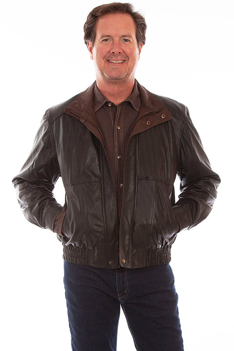 Scully Mens Featherlite Leather Jacket, Black Front View