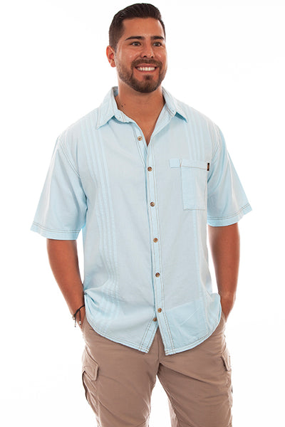 Farthest Point Collection Traveler Short Sleeve Aqua Sky Front